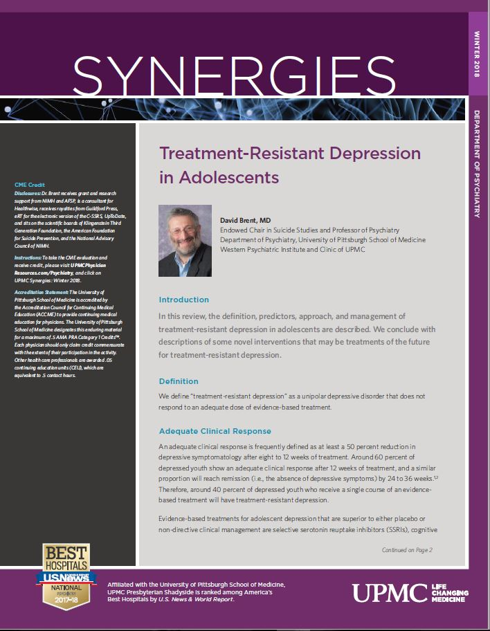 Synergies Winter 2018 Tx Resistant Depression in Adolescents